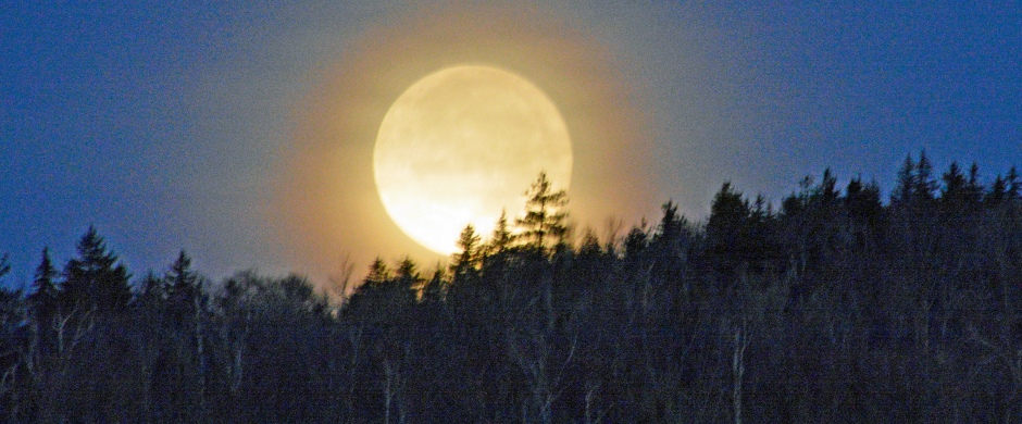 Full moon setting on the mountain overlooking 13th Lake at Garnet Hill Lodge, Gore Mountain, New York - photo by Meredith Eastwood