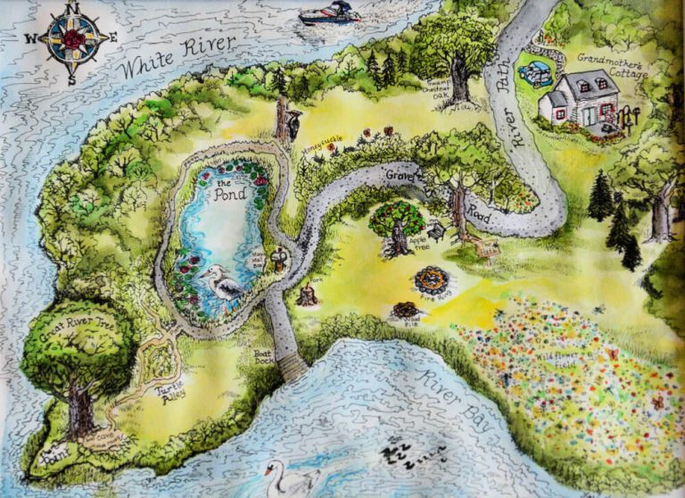 Map of Riverwood Hollow by Illustrator Lorie Lee Andrews